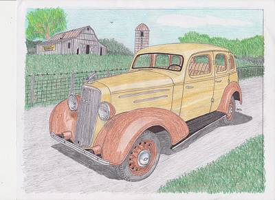 Country Schools Drawing - 1935 Chevy Sedan by Darrell Leonard