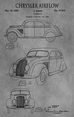 Chrysler Airflow Digital Art - 1935 Chrysler Patent by Dan Sproul