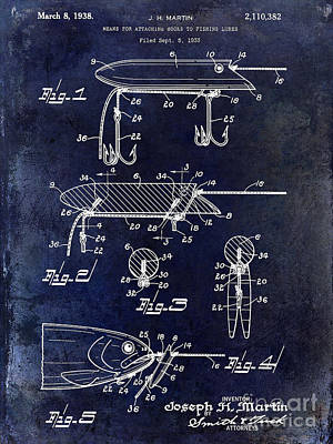 1935 Fishing Lure Patent Blue Art Print by Jon Neidert