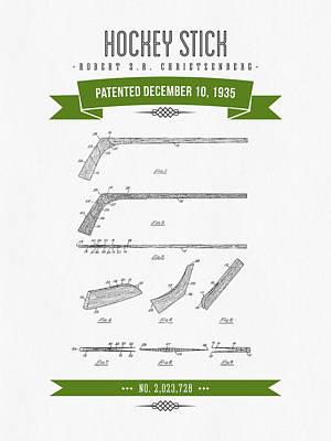 1935 Hockey Stick Patent Drawing - Retro Green Art Print by Aged Pixel