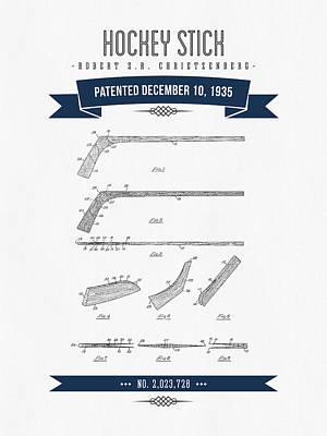 1935 Hockey Stick Patent Drawing - Retro Navy Blue Art Print by Aged Pixel