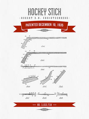 1935 Hockey Stick Patent Drawing - Retro Red Art Print by Aged Pixel