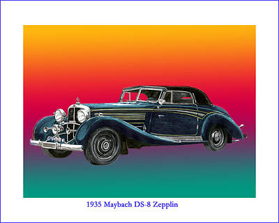 Painting -  Maybach Zepplin Ds-8 by Jack Pumphrey