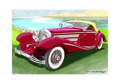 1935 Mercedes Benz 540 K Pebble Beach Print by Jack Pumphrey