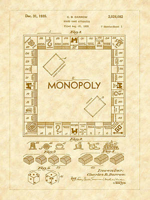 Artwork Painting - 1935 Monopoly Board Game Patent Art by Barry Jones