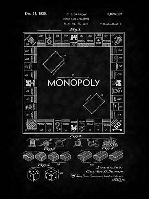 Digital Art - 1935 Monopoly Board Game Patent-bk by Barry Jones