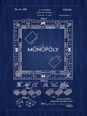 Patent Drawing Photograph - 1935 Monopoly Board Game Patent-blue by Barry Jones