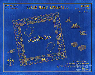 Drawing - 1935 Monopoly Patent Art 3 by Nishanth Gopinathan