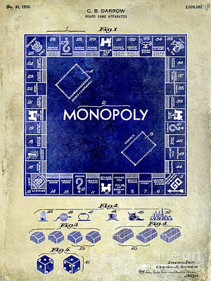 Monopoly Photograph - 1935 Monopoly Patent Drawing 2 Tone  by Jon Neidert
