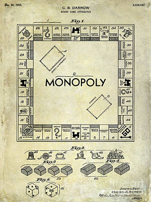 Monopoly Photograph - 1935 Monopoly Patent Drawing by Jon Neidert