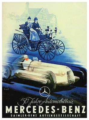 1907 Digital Art - 1936 - Mercedes Benz German Poster Advertisement - Color by John Madison