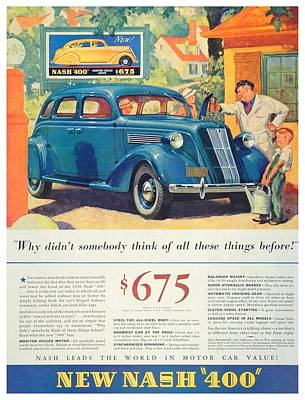 1936 - Nash Sedan Automobile Advertisement - Color Art Print