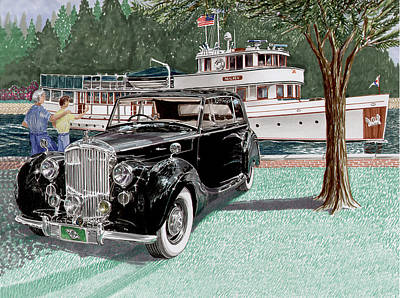 Classic Marine Art Painting - 1936 Bentley Waving To Malibu by Jack Pumphrey