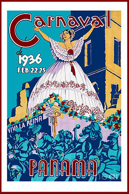Person Drawing - 1936 Carnaval Vintage Travel Poster by Jon Neidert