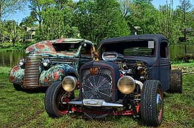 Art Print featuring the photograph 1936 Chevrolet And 1939 Chevrolet Rat Rod Pickups by Tim McCullough