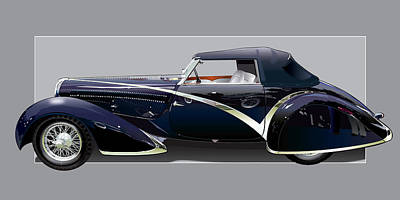 Monte Carlo Drawing - 1936 Delahaye 135 Competition by Alain Jamar