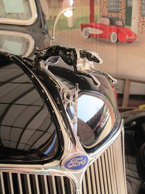 1936 Ford Cabriolet Car Hood Ornament Print by Donna Wilson