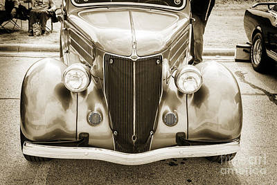 Photograph - 1936 Ford Roadster Classic Car Or Automobile Front End In Sepia  3116.01 by M K Miller