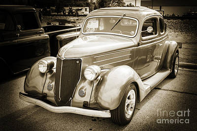 Photograph - 1936 Ford Roadster Classic Car Or Automobile In Sepia  3115.01 by M K Miller