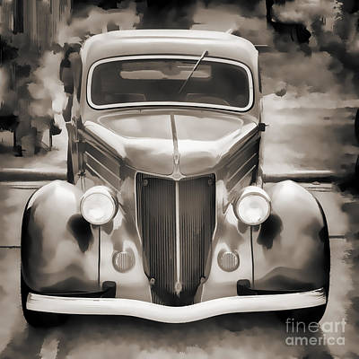 Photograph - 1936 Ford Roadster Classic Car Or Automobile Painting In Sepia  3120.01 by M K Miller