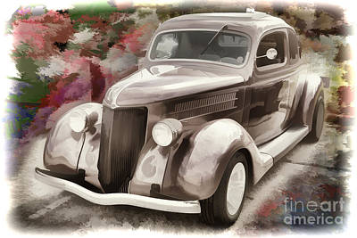Painting - 1936 Ford Classic Car Painting Or Automobile In Color  3122.02 by M K Miller