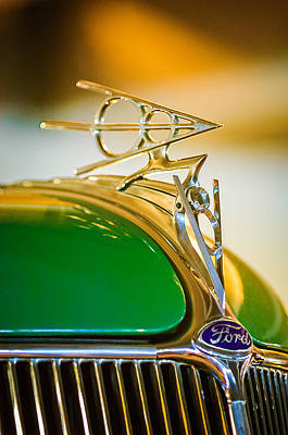 1936 Ford Deluxe Roadster Hood Ornament Art Print by Jill Reger