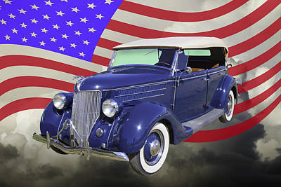 Photograph - 1936 Ford Phaeton Convertible With American Flag  by Keith Webber Jr
