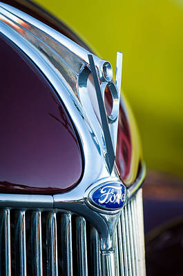 1936 Ford Photograph - 1936 Ford Phaeton V8 Hood Ornament - Emblem -0258c by Jill Reger