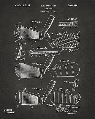 Iron Digital Art - 1936 Golf Club Patent Artwork - Gray by Nikki Marie Smith