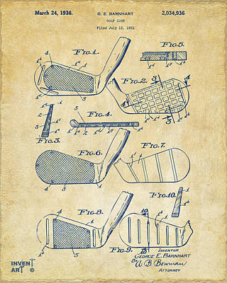 Aged Wood Digital Art - 1936 Golf Club Patent Artwork Vintage by Nikki Marie Smith