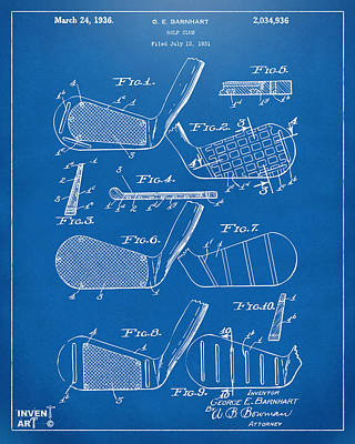 Golf Course Digital Art - 1936 Golf Club Patent Blueprint by Nikki Marie Smith