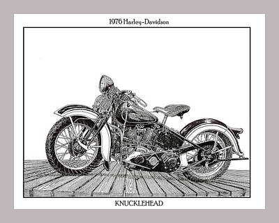 Drawing - 1936  Knucklehead by Jack Pumphrey