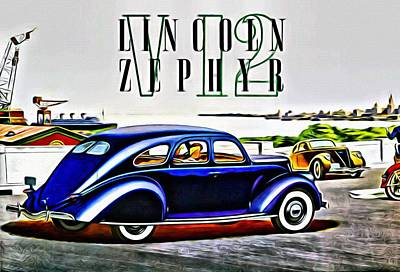 Painting - 1936 Lincoln Zephyr Ad by Florian Rodarte
