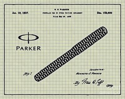 1936 Parker Pen Patent Art With Logo 4 Art Print