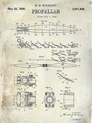 1936 Propeller Patent Drawing Art Print by Jon Neidert