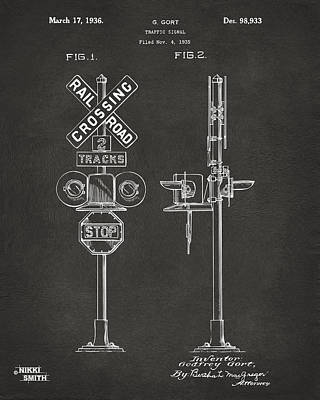 Train Drawing - 1936 Rail Road Crossing Sign Patent Artwork - Gray by Nikki Marie Smith