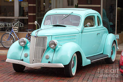 Wheels Photograph - 1936 White Ford Coupe by J Darrell Hutto