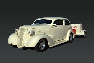 Photograph - 1937 Chevrolet Sedan Hot Rod With Trailer by TeeMack
