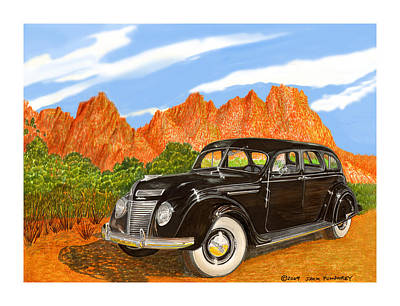 Painting - 1937 Chrysler Airfow by Jack Pumphrey