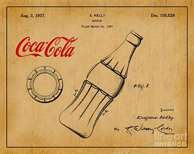 American Food Digital Art - 1937 Coca Cola Bottle Design Patent Art 1 by Nishanth Gopinathan