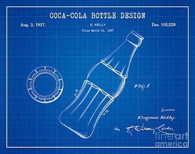 American Food Digital Art - 1937 Coca Cola Bottle Design Patent Art 2 by Nishanth Gopinathan
