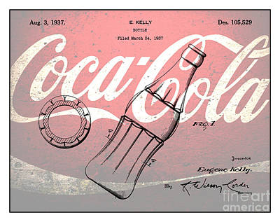 Coca Cola Drawing - 1937 Coca Cola Bottle Design Patent Art 3 by Nishanth Gopinathan