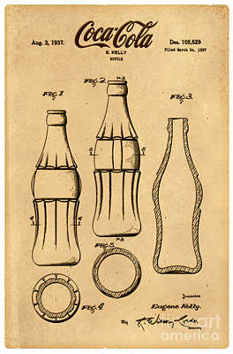 Cocacola Drawing - 1937 Coca Cola Bottle Design Patent Art 4 by Nishanth Gopinathan