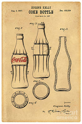 Food And Beverage Royalty-Free and Rights-Managed Images - 1937 Coca Cola Bottle Design Patent Art 5 by Nishanth Gopinathan