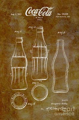 American Food Digital Art - 1937 Coca Cola Bottle Design Patent Art 6 by Nishanth Gopinathan