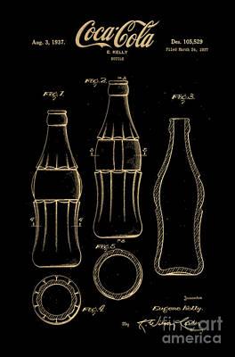 American Food Digital Art - 1937 Coca Cola Bottle Design Patent Art 7 by Nishanth Gopinathan