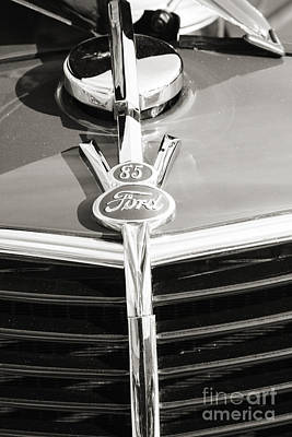 Photograph - 1937 Ford Pickup Truck Classic Car Emblem Photograph In Sepia 33 by M K Miller
