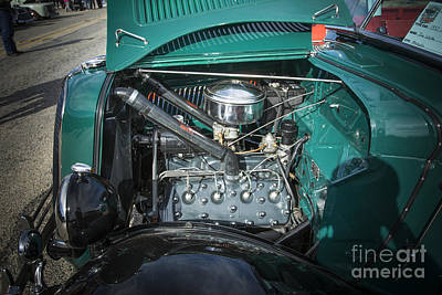 Photograph - 1937 Ford Pickup Truck Classic Car Engine Photograph In Color 33 by M K Miller