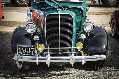 Photograph - 1937 Ford Pickup Truck Classic Car Front End Photograph In Color by M K Miller