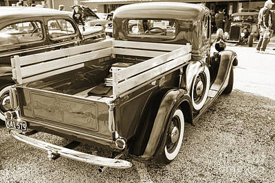 Photograph - 1937 Ford Pickup Truck Spare Tire Classic Car Photograph In Sepi by M K Miller
